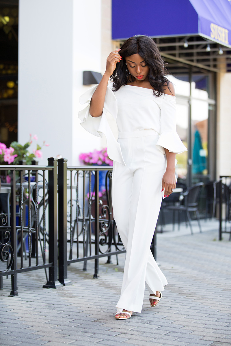 off shoulder top, white outfit, www.jadore-fashion.com