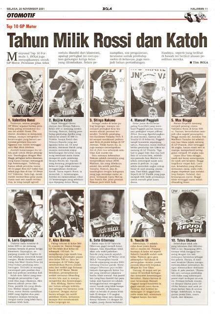 TOP 10 GP MOTOR TAHUN MILIK ROSSI DAN KATOH