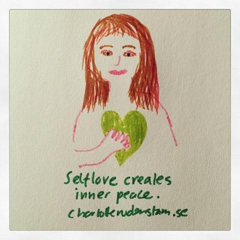 Charlotte Rudenstam teckning Selflove creates inner peace.
