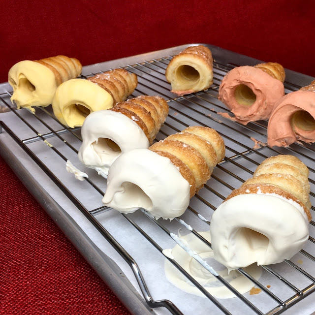 Tray of Chocolate Dipped Puff Pastry Cream Horns