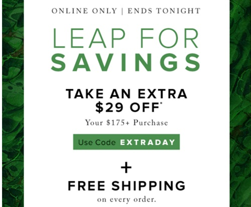 Hudson's Bay Leap For Savings $29 Off + Free Shipping Promo Code
