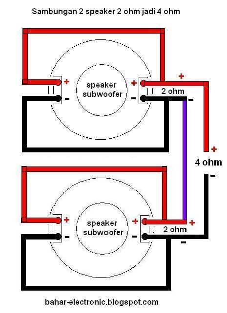 bahar electronic sambungan seri dan paralel 2 speaker subwoofer double coil. Black Bedroom Furniture Sets. Home Design Ideas