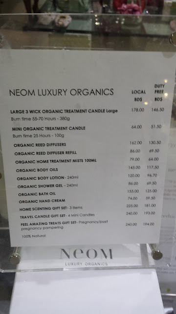 Neom Luxury Organics Price list in PureSource Barbados www.modenmakeup.com