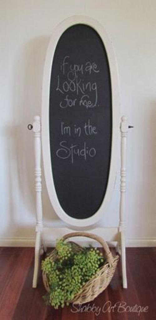 espejo y pizarra