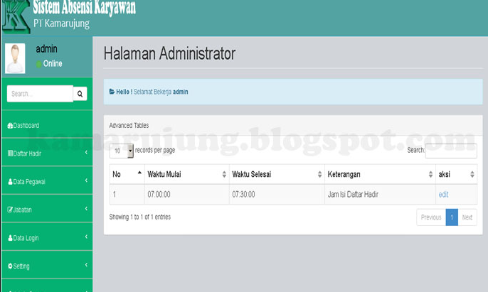 Download Source Code gratis Cara Membuat Simulasi Finger Print Untuk Absensi Berbasis Web Menggunakan PHP & MySql