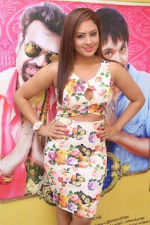Actress Nikesha Patel Stills in Floral Short Dress at Narathan Movie Interview  0012.jpg