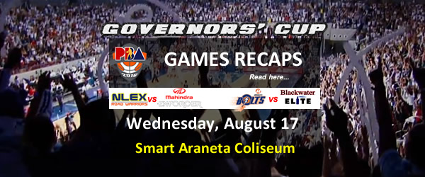 List of PBA Games Wednesday August 17, 2016 @ Smart Araneta Coliseum