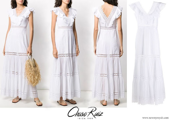 Queen Letizia wore Charo Ruiz Ibiza Aida lace long dress