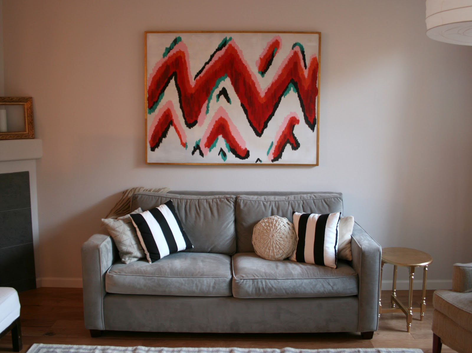 above sofa artwork hans wegner ge 236 in which i pretend to be a painter diy zigzag ikat wall