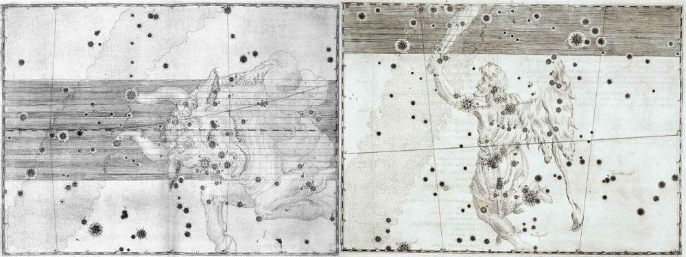 Johann Bayer representó así a Tauro y a Orión en su Uranometría de 1603