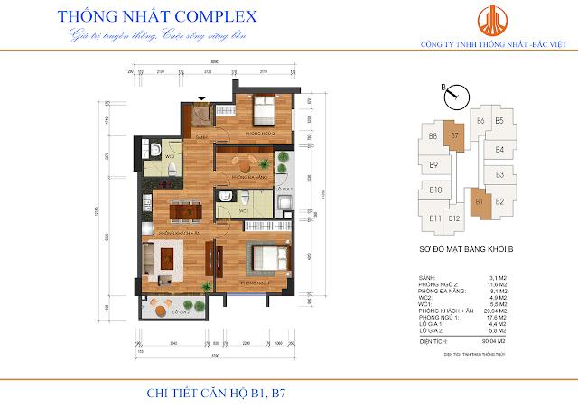 Thiết kế căn B1 - B7 tòa B chung cư Thống Nhất Complex