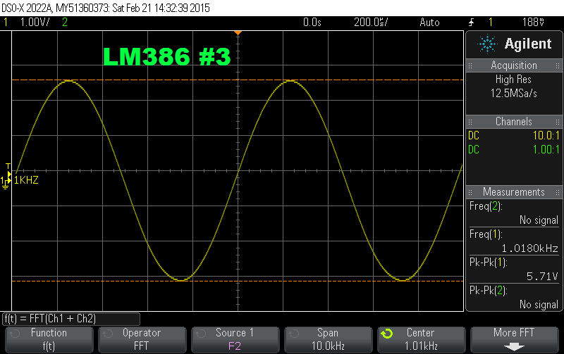 The time domain output with my LM386 driven to the point where I can just detect signs of distortion: 5.71 Vpp or 520 mW.