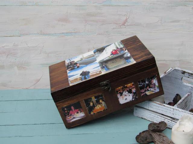 caja de madera en nogal con fotos