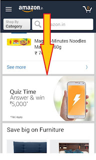 screenshot of amazon pay recharges quiz time banner here you can find it