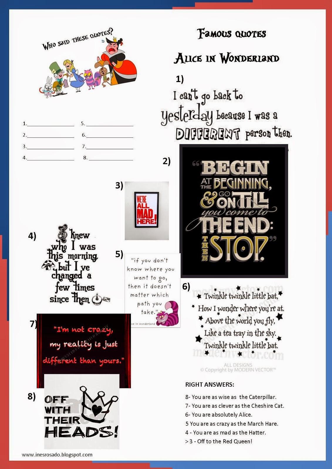 Alice in Wonderland for primary EFL : Quiz