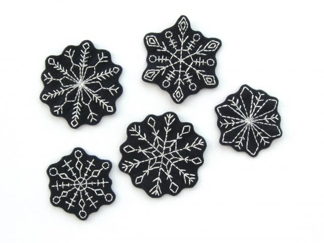 Embroidered Felt Snowflakes