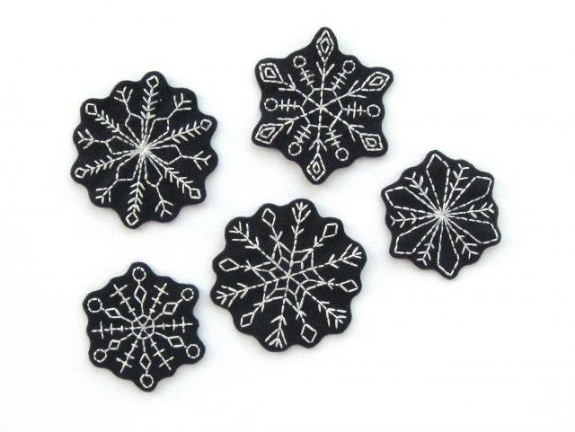 Embroidered Felt Snowflakes