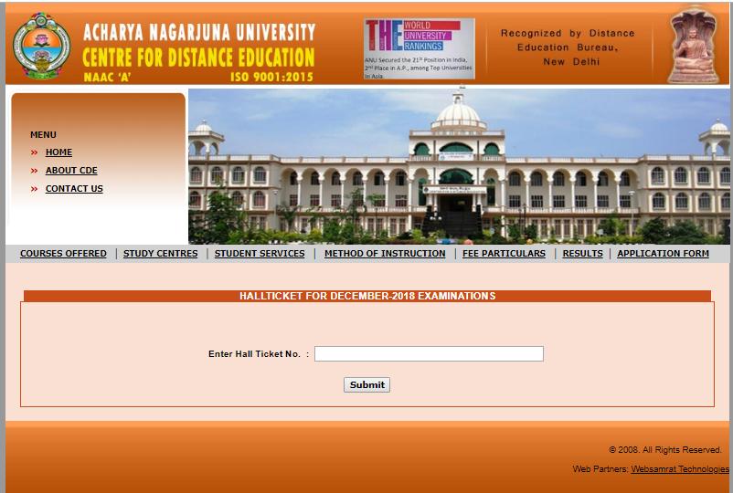ANUCDE Acharya Nagarjuna University Center for Distance Education Admit Card