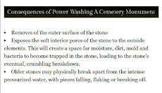 DO NOT USE A POWER WASHER ON A GRAVESTONE
