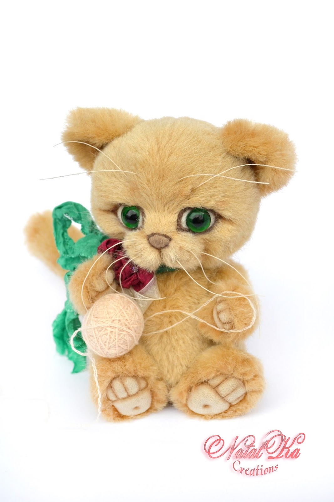 Artist teddy cat, kitty handmade, jointed, ooak, Künstlerteddy, Künstlerkater, Teddybär, handgemacht von NatalKa Creations