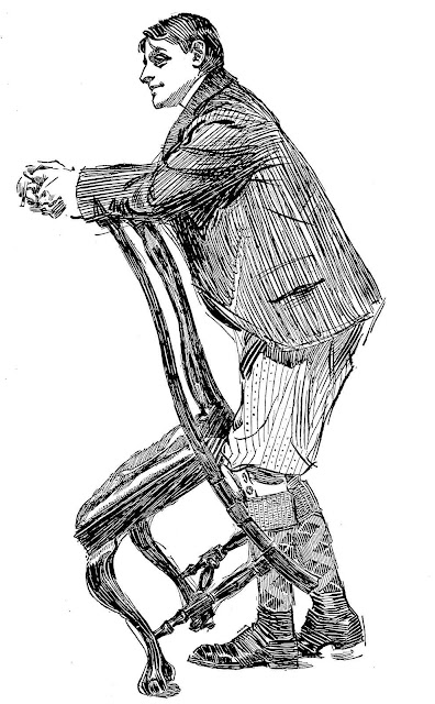 an Orson Lowell illustration of a young man leaning on a chair
