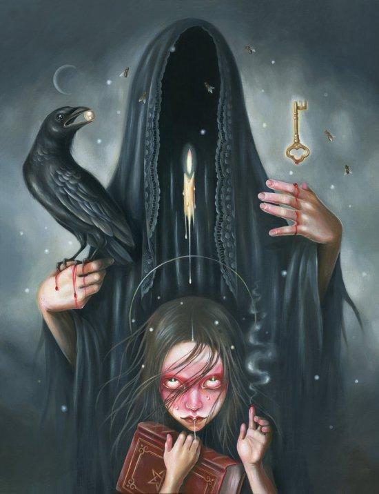 Hanna Jaeun arte pinturas surreais sombrias meninas jovens religião simbolismo
