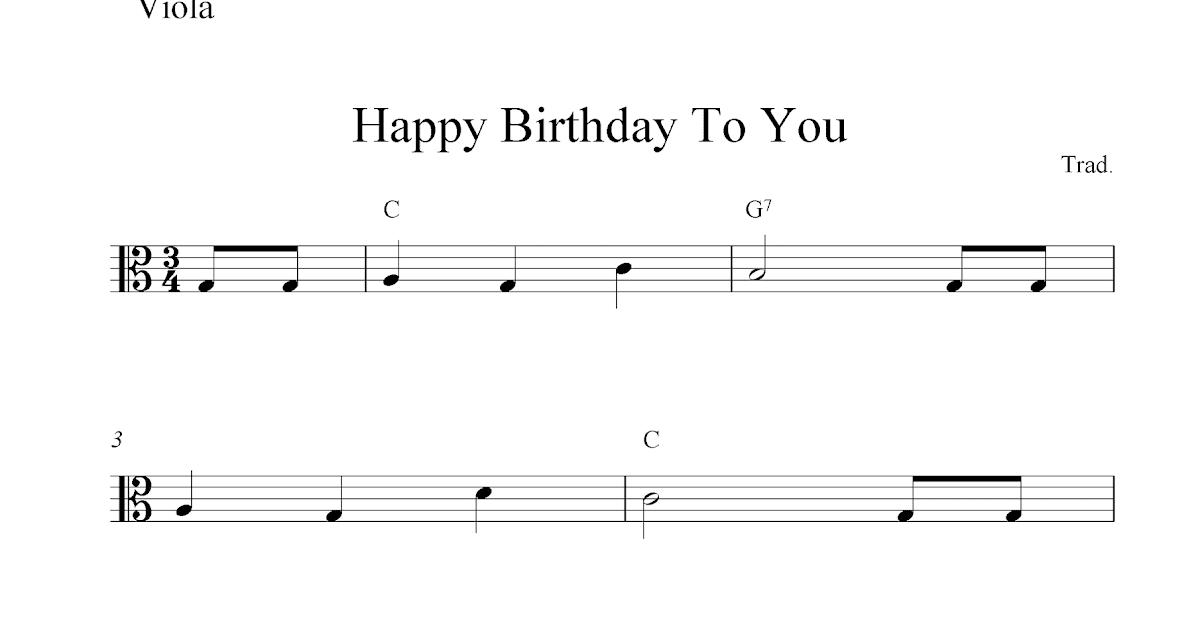 Piano happy birthday piano sheet music : Free viola sheet music, Happy Birthday To You