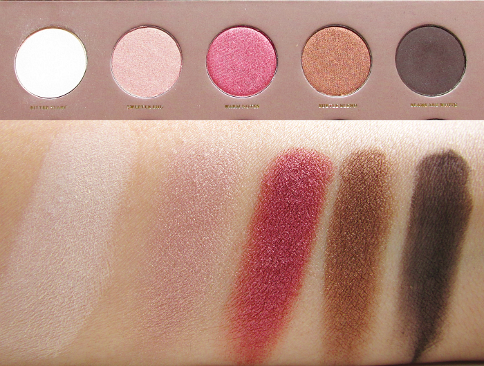 Swatches 1 Zoeva - Cocoa Blend Eyeshadow Palette - Bitter Start - Sweeter End - Warm Notes - Subtle Blend - Beans are White
