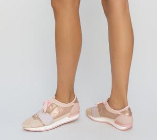 Pantofi Sport Geno Roz simpli de calitate si moderni