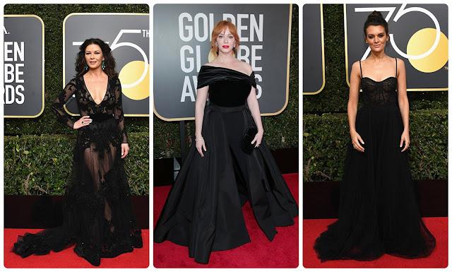 Looks dos globos de ouro 2018; Catherine Zeta-Jones; Christina Hendricks; Frankie Shaw