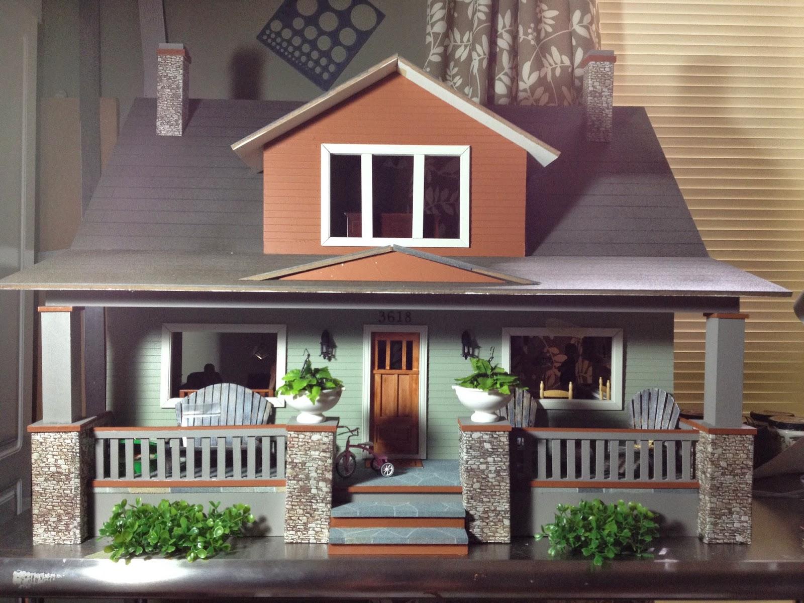 Jocelyn 39 s mountfield dollhouse midtown bungalow dollhouse for Bungalow kit