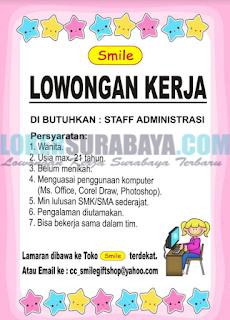 Loker Surabaya Terbaru di Smile Gift Shop Mei 2019