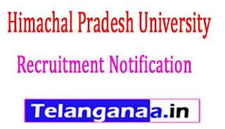 Himachal Pradesh University HPU Recruitment Notification 2017