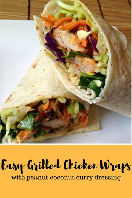 Easy Grilled Chicken Wraps with Peanut Coconut Curry Dressing Recipe