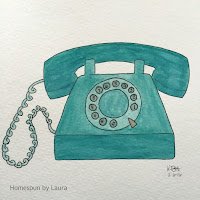 homespun by laura daily doodle vintage rotary telephone watercolor