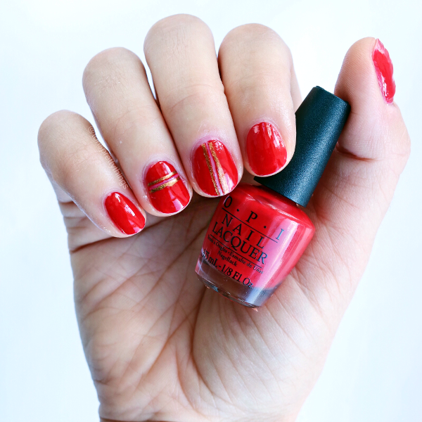 Easy Red Nail Art for Fall 2017 - OPI Big Apple Red, Zoya Aggie