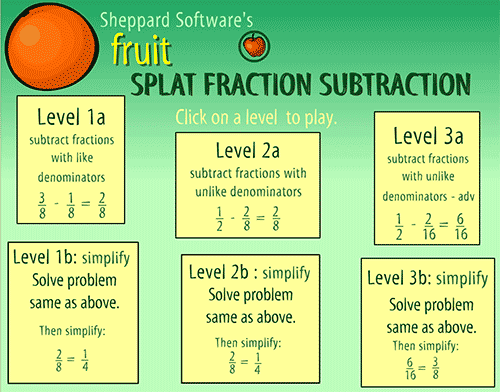 Splat fraction subtraction game - Different levels