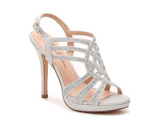 strappy silver sparkle metallic wedding shoes