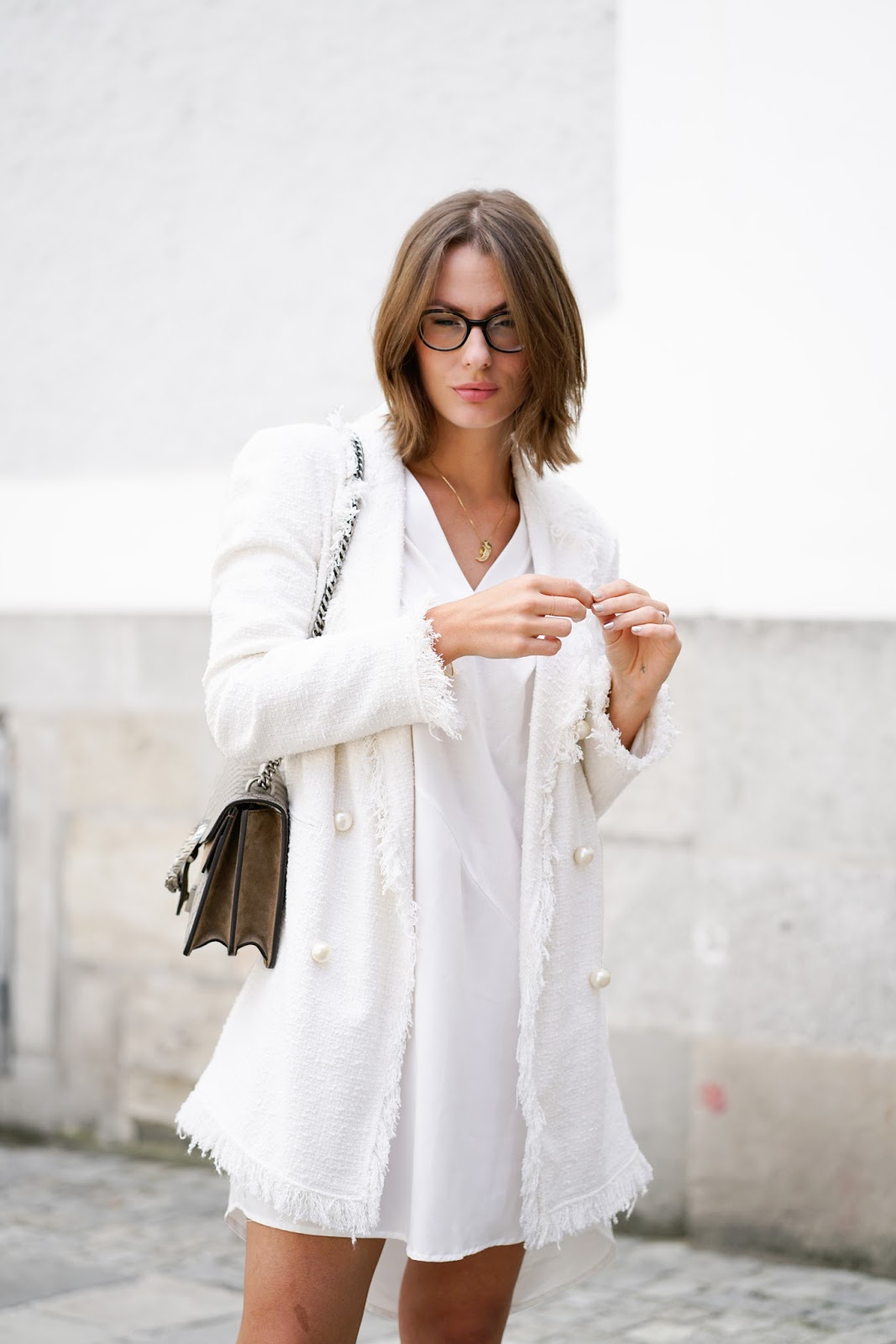 a4c805a2 BOUCLE BLAZER // WEARING – boucle blazer: zara // tunic dress: zara // bow  slippers: edited // bag: gucci dionysus