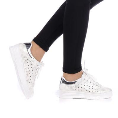 Pantofi sport dama Ventur albi su argintiu