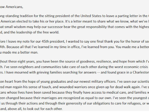 President Obama's Final Message To The White House Email List-Yes WE Can