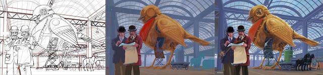 Artist Martin Davey WIP Steampunk robin fantasy art