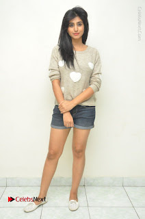 Actress Model Shamili (Varshini Sounderajan) Stills in Denim Shorts at Swachh Hyderabad Cricket Press Meet  0038.JPG