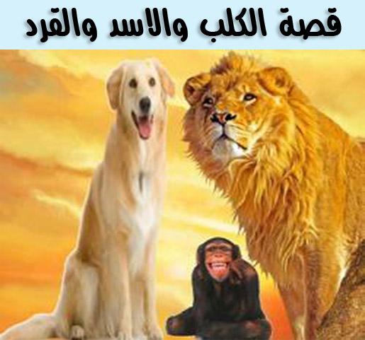 قصة الكلب والاسد والقرد