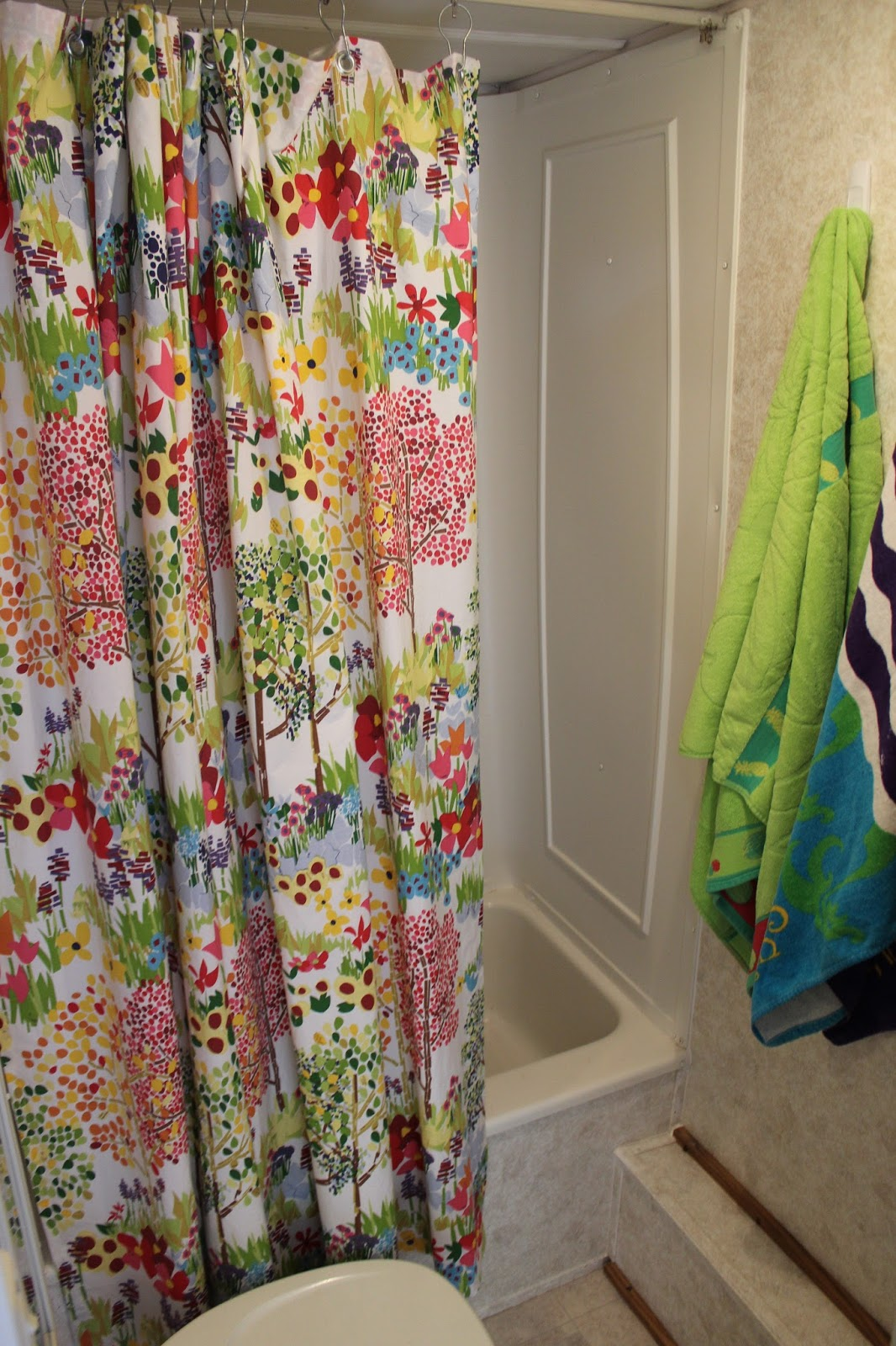 Attractive For The Bath I Added Bright Color Towels And Made A Shower Curtain With The  Same Fabric As The Quilt Backing. Photos Of The New Shower Curtain And The  Old ...