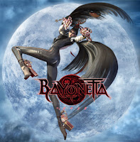 Bayonetta in a pose with two guns pointed back to the viewer