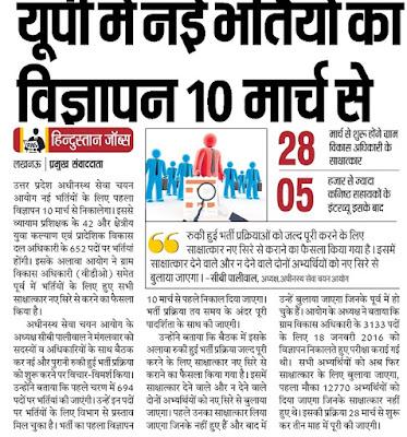 UPSSSC Recruitment 2018 6712 Nagar Nikay, Jal Vibhag, VDO, Lekhpal
