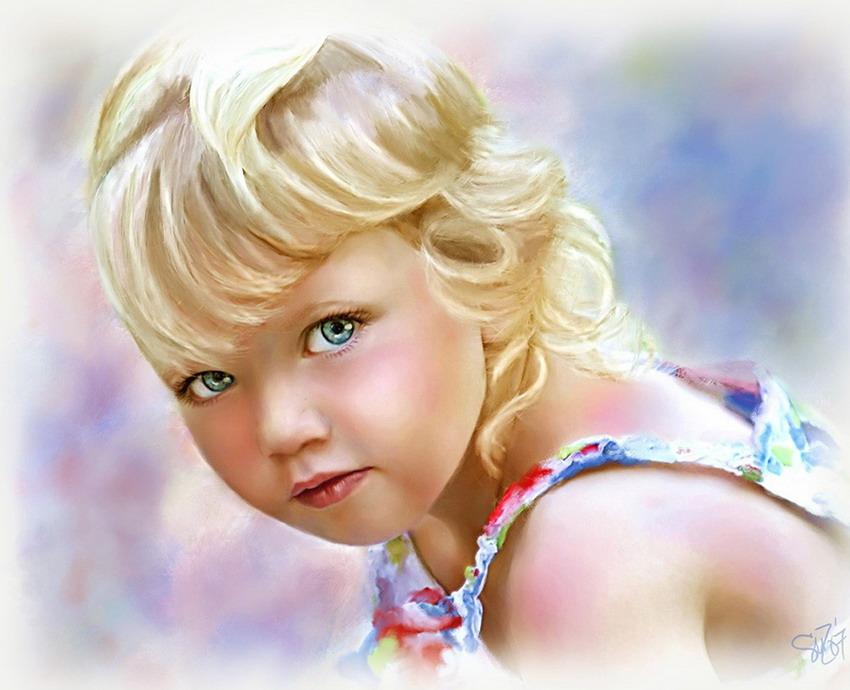 Cuadros modernos pinturas y dibujos dulces y adorables - Retratos de ninos al oleo ...