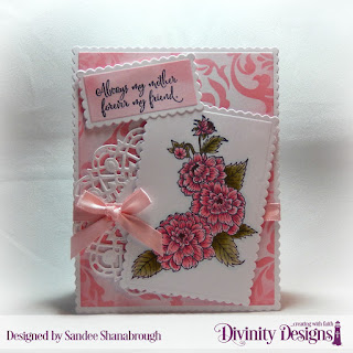 Divinity Designs Stamp Set: Daughter's Best Friend, Mixed Media Stencil: Damask, Custom Dies: Scalloped Rectangles, Doily