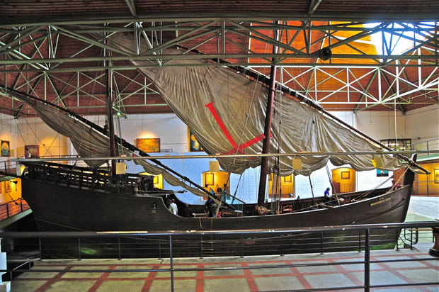 A replica of one of the caravelles Bartolomeu Dias sailed round the tip of Africa